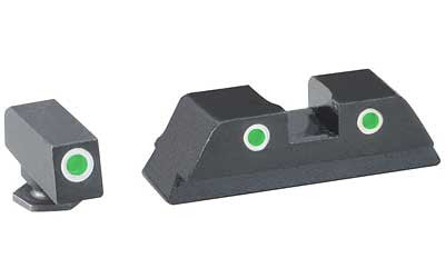 AmeriGlo Classic Series 3 Dot Sights for Glock 17 - GL-113 - Green w/White Outline