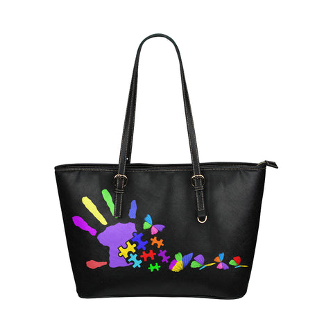 Autism Awareness Leather Tote Bag