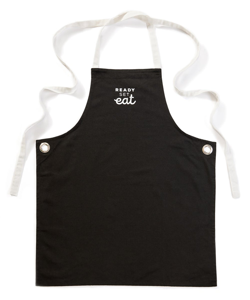 """Ready, Set, Eat"" Black Cotton Apron"