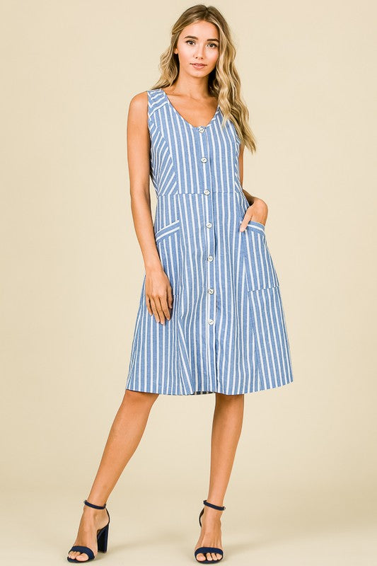 Chambray Stripe Dress