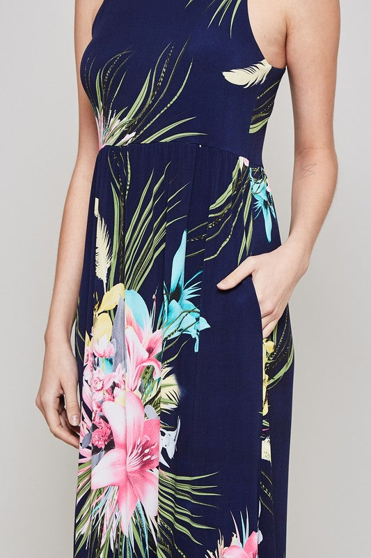 Floral Racer Back Maxi Dress