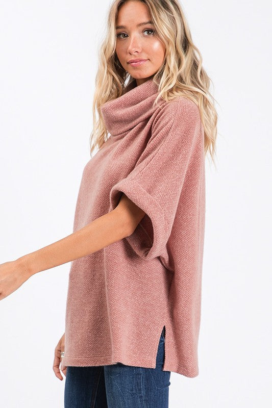 Mauve Oversize Turtleneck Sweater