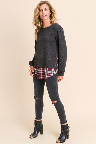 Long Sleeve Top with Contrast Bottom