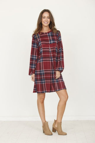 Burgundy Plaid Mini Dress