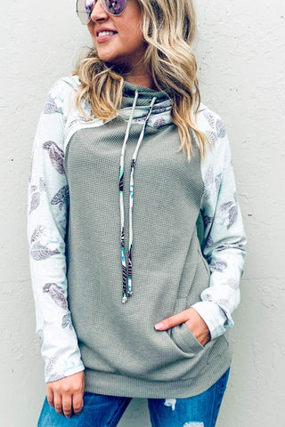Print Sleeve Hoodie With Side Zip