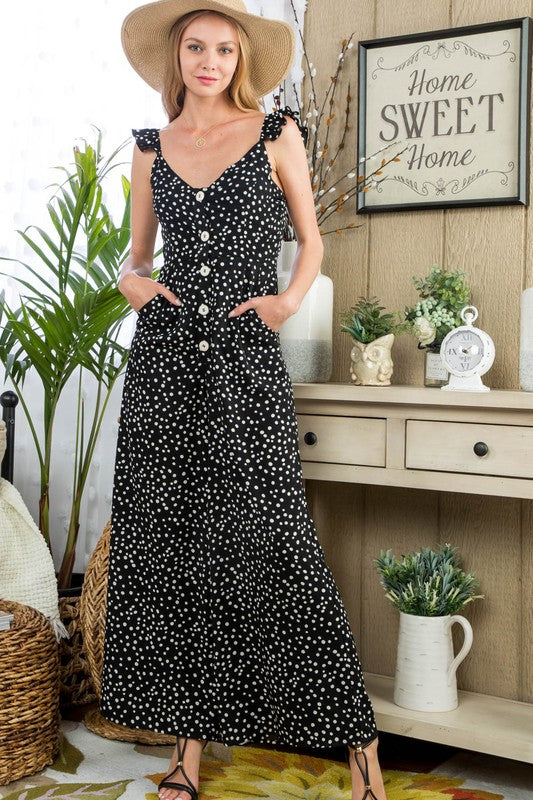 Polka Dot Jumpsuit With Ruffle Shoulder