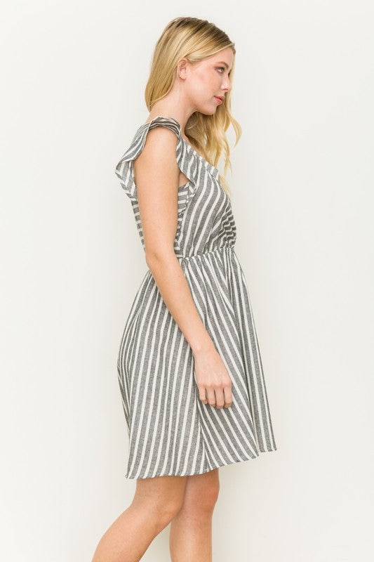 Striped Flutter Sleeve Dress