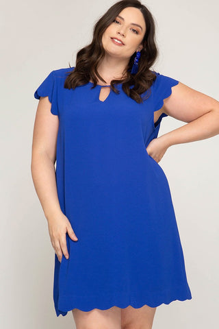 Cap Sleeve Dress with Scallop Detail