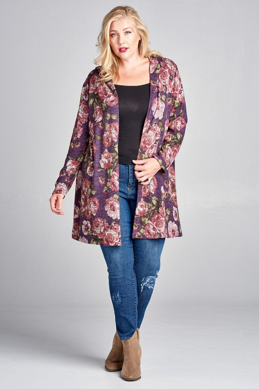 Hooded Floral Cardigan