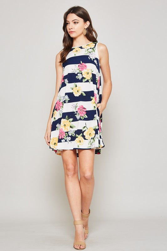 Sleeveless Striped/Floral Swing Dress