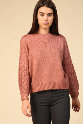 Dusty Rose Cable Sleeve Sweater