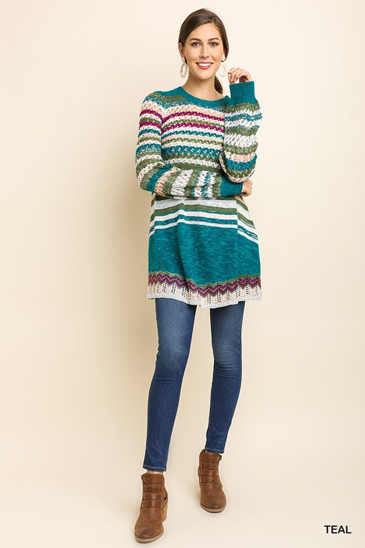 Multicolour Sweater With Puff Sleeves