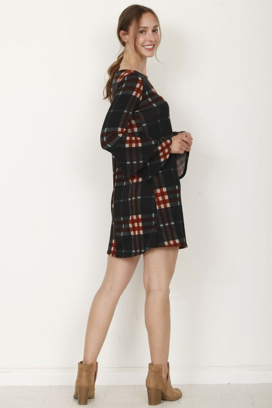 Plaid Dress with Ruffle Sleeves