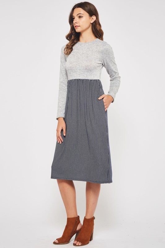 Two Tone Midi Dress With Pockets