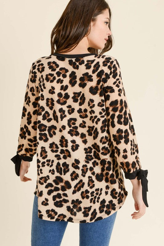 Animal Print Tunic with Ribbon Sleeve Detail