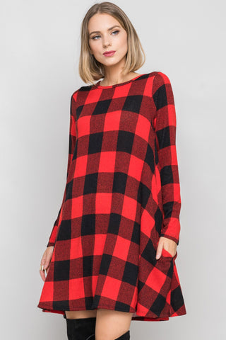 Buffalo Plaid Swing Dress With Pockets