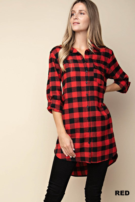 Gingham Check High/Low Shirt Dress