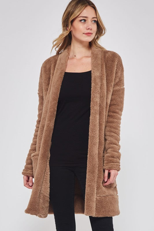 Solid Sweater Cardigan With Side Pockets