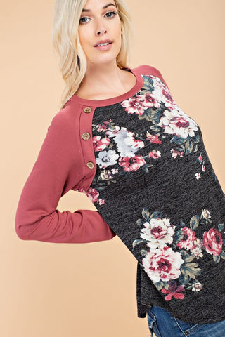 Raglan Sleeve Flower Print Top