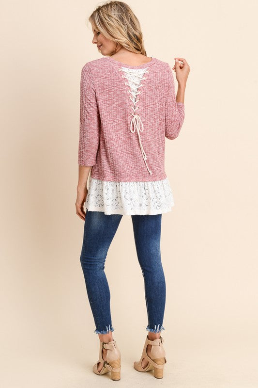 Top with Lace Detail and Tie Detail