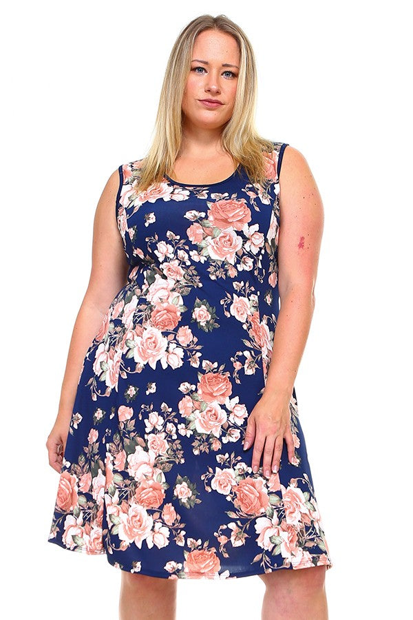 Floral Dress with Contrast Trim