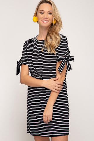 Striped Shift Dress with Sleeve Tie Detail