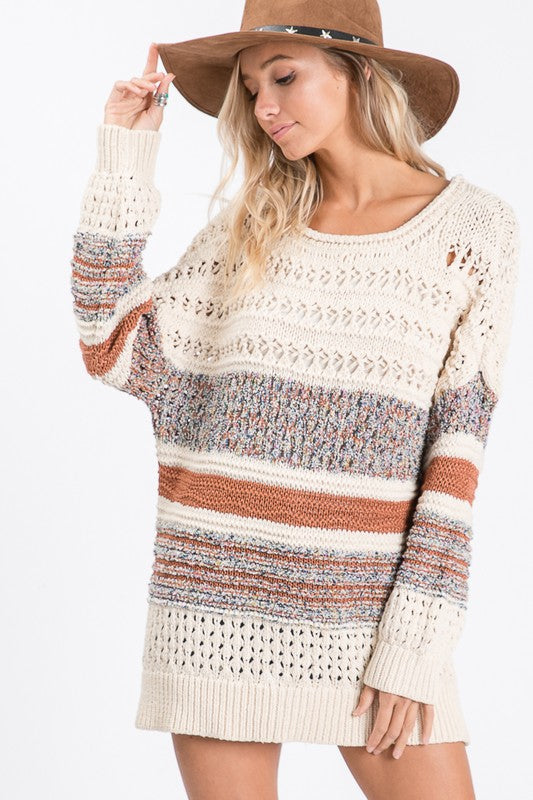 Multi-Thread Cable Knit Sweater