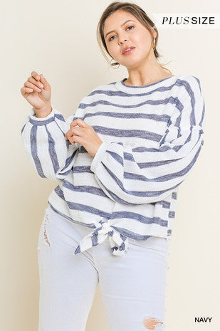 Striped Puff Sleeve Knit Top