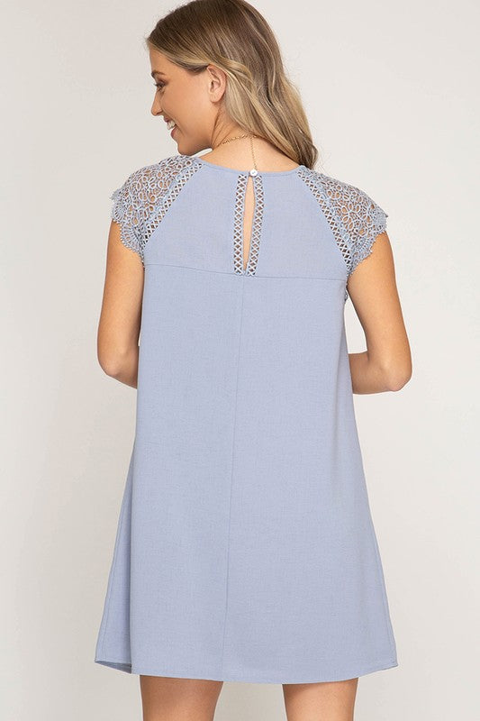 Lined Dress with Lace Trim