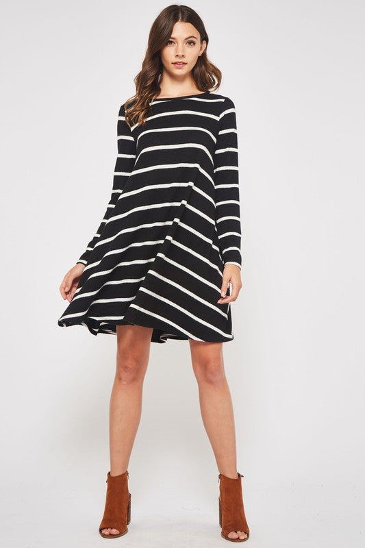 Striped Sweater Dress with Hidden Pockets and Elbow Patch Detail