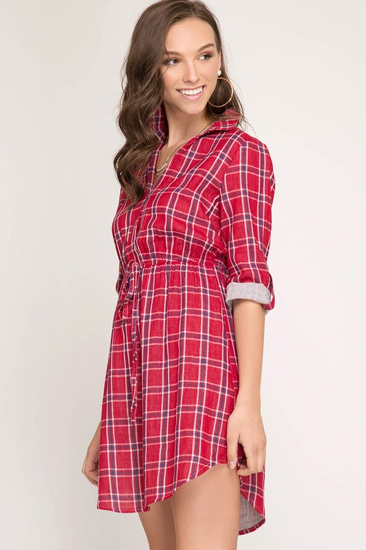 Woven Plaid Shirtdress