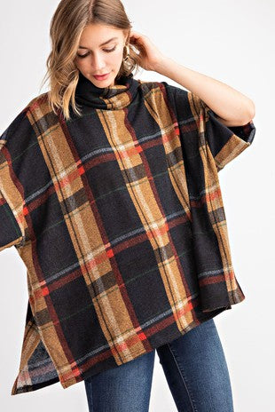 Oversize Plaid Turtleneck Top