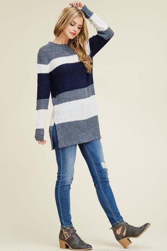 Color Block Sweater Top With Side Slits