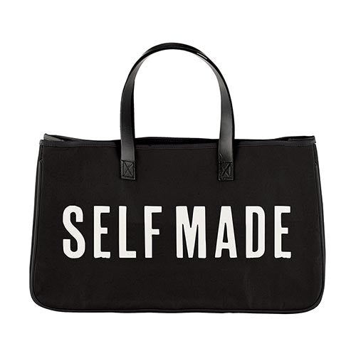"""Self Made"" Leather Handle Canvas Tote"