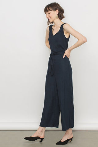 Navy Ribbed Knit Sleeveless Jumpsuit
