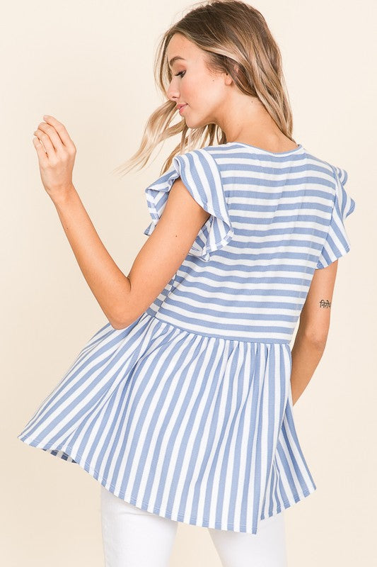 Ruffle Cap Sleeve Striped Top