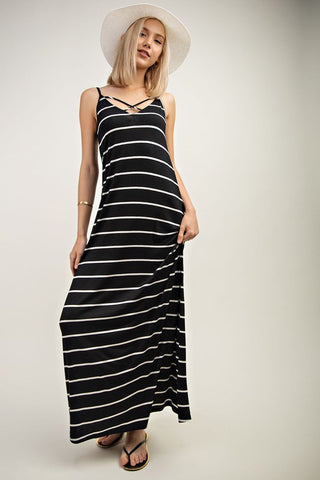 Striped Maxi Dress with Crisscross Detail