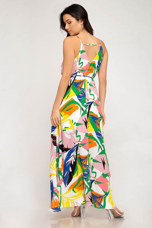 Printed Maxi with Waist Tie