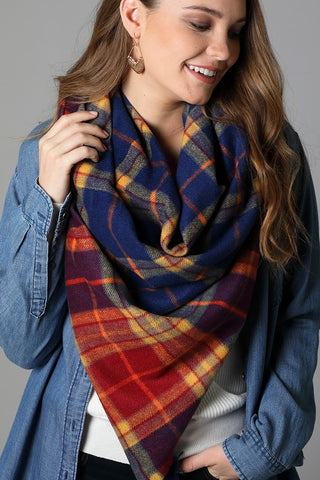 Plaid Square Scarf In Navy