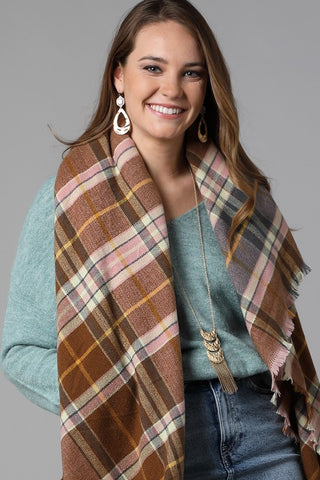 Plaid Square Scarf in Blush