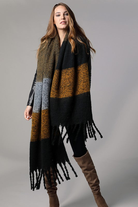 Wide Stripe Oblong Scarf In Black Multi
