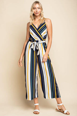Striped Jumpsuit with Tie Belt