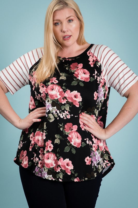Floral Top with Contrast Sleeve