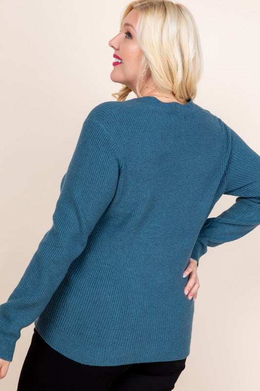Tie Front Ribbed Sweater (Plus Size)
