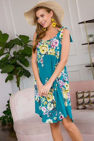 Floral Babydoll Dress with Shoulder Tie Detail