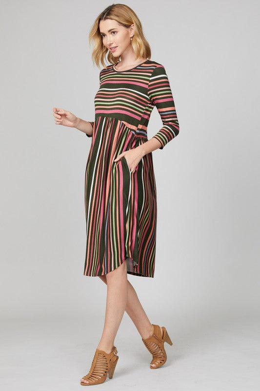 Olive Striped Midi Dress