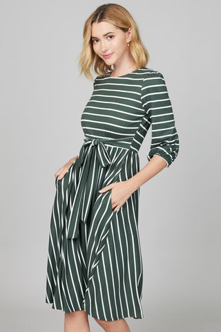 Olive Tie Front Striped Dress