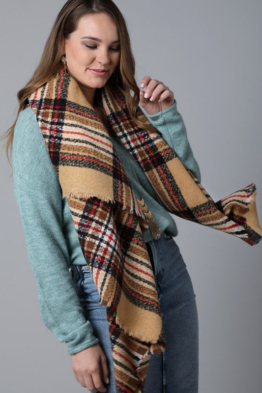 Plaid Square Blanket Scarf In Beige