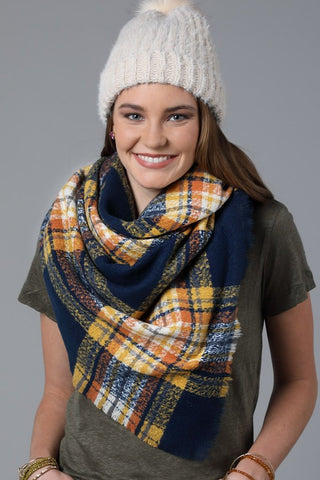 Plaid Square Blanket Scarf In Navy