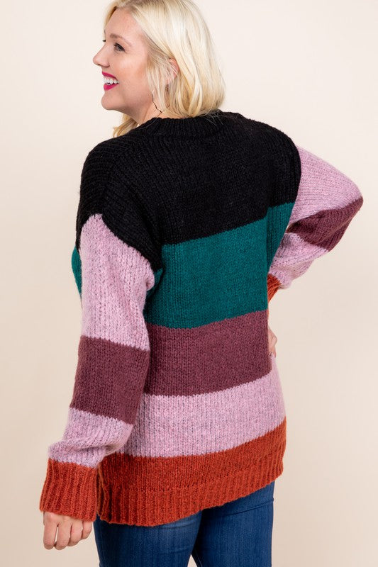 Multi Stripe Long Sleeve Sweater